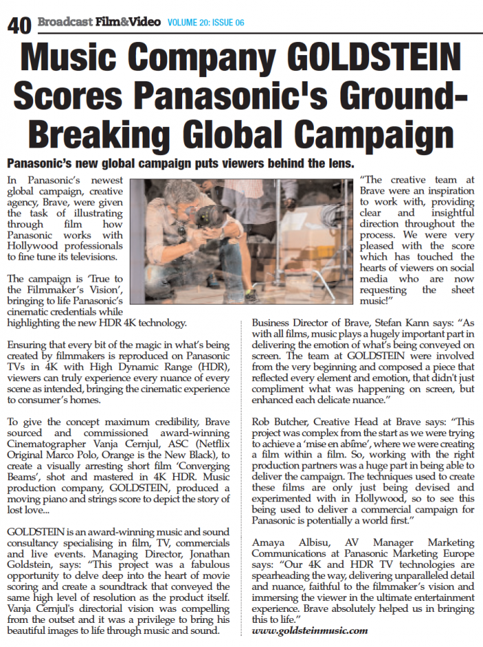 GOLDSTEIN Score Panasonic's Ground-Breaking Global Campaign